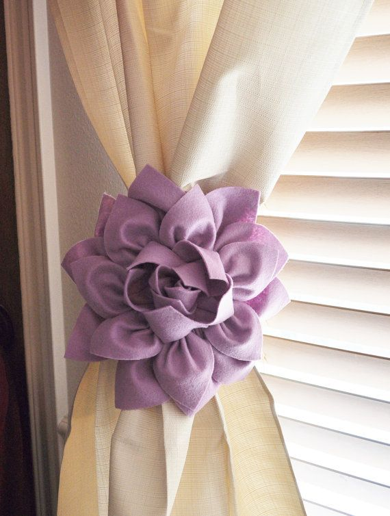 two dahlia flower curtain tie backs curtain tiebacks curtain holdback drapery tieback baby nursery decor lilac decor baby girl bedroom