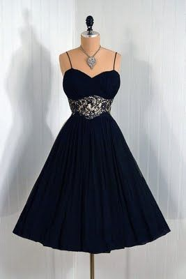 1950's Dress - looks almost dark blue in this picture - I wish it was (I think it's actually black)