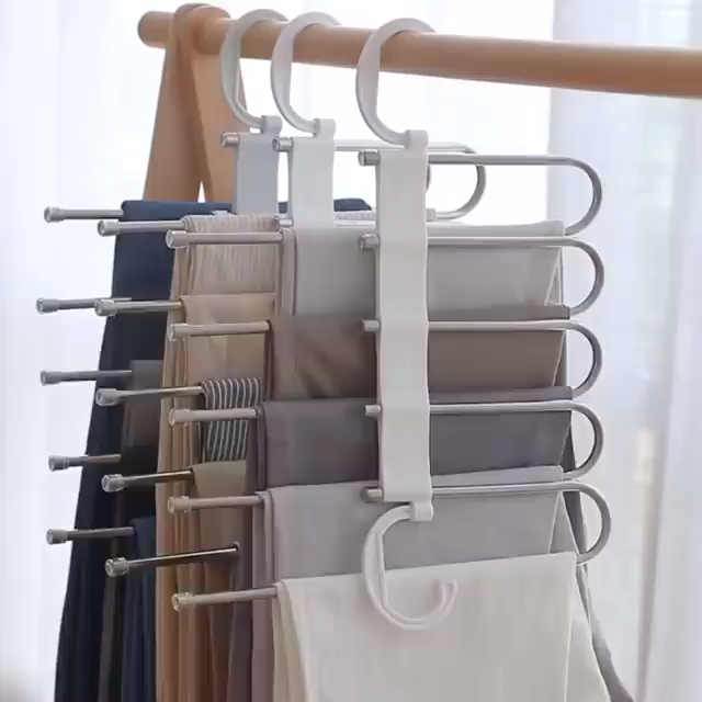 Stylish and Durable: Our metallic Pants Rack is durable, rustproof, and stylish. Space Saving Design: The adjustable storage rack can be