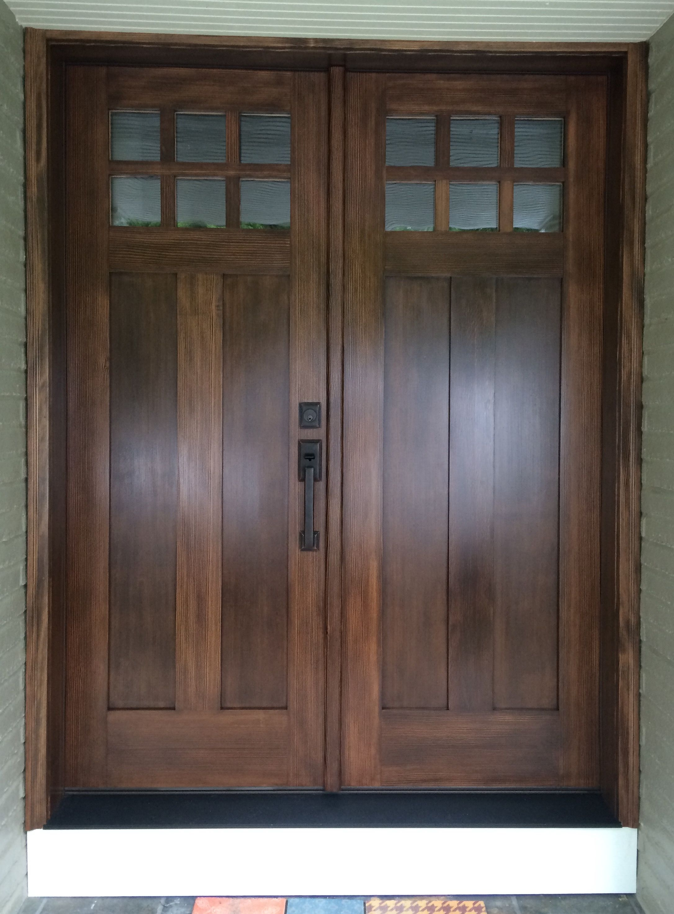 Douglas fir entry door stained and finished Exterior Doors