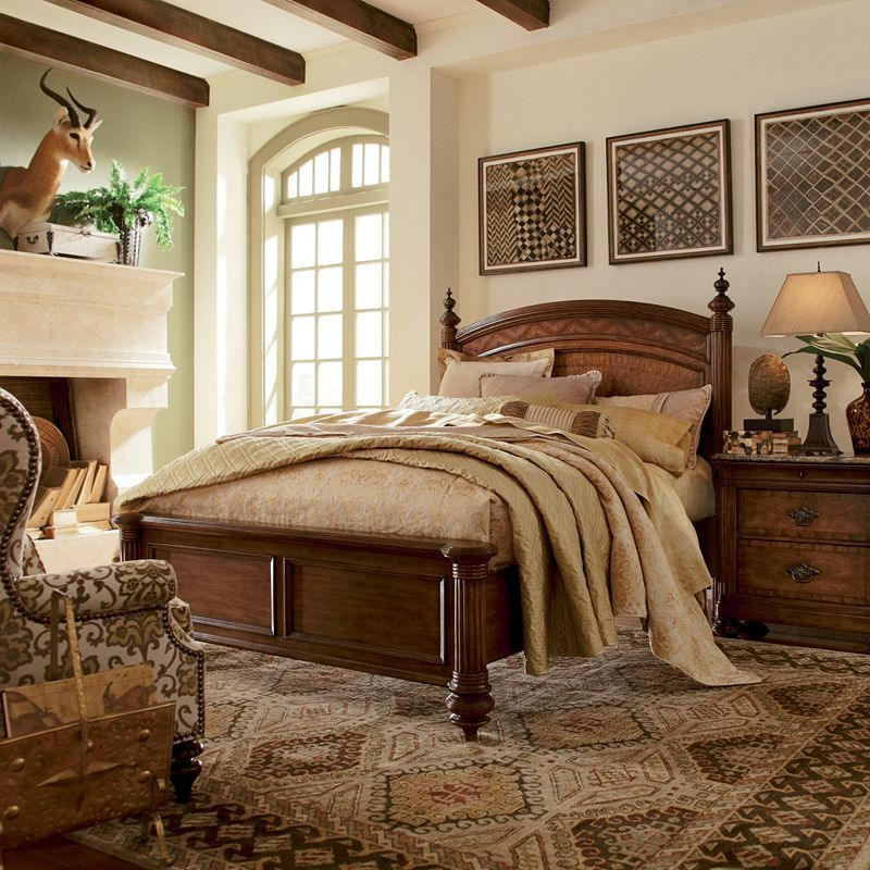 Thomasville furniture ernest hemingway swahili panel bed i british colonial style for Thomasville white bedroom furniture
