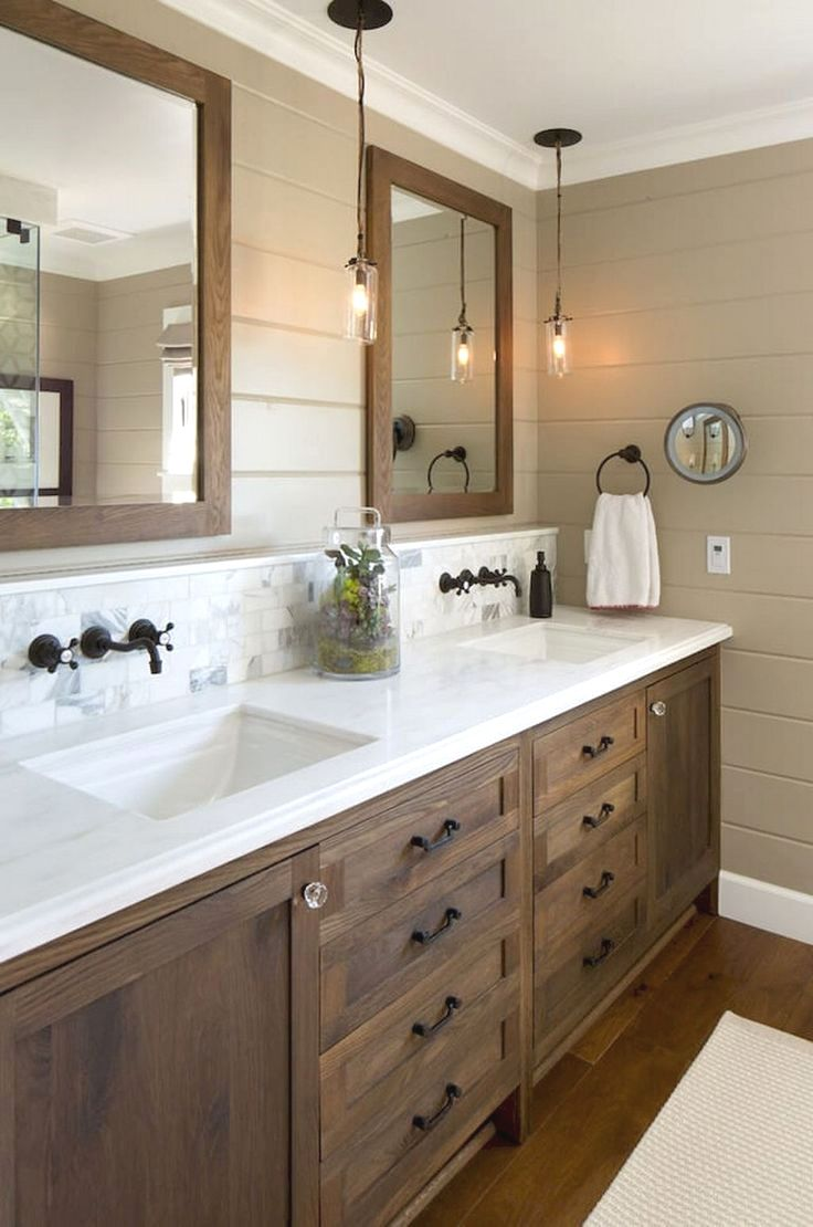Master Bathrooms Usually Accommodate Two People At The Same Time Performance Is As Bathroom Vanity Remodel Farmhouse Master Bathroom Small Farmhouse Bathroom Farmhouse master bathroom decor