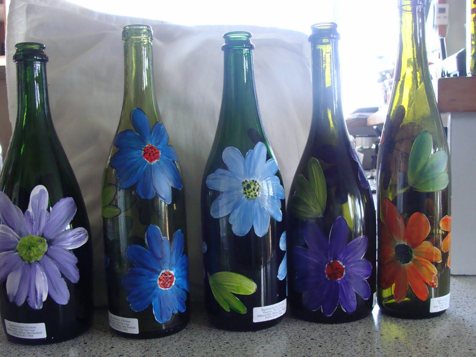 Painted bottles christine flannery glass painting hand for Hand painted glass bottles