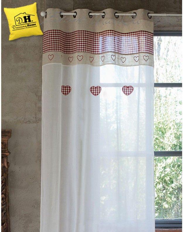 Tenda Country Chic Blanc Mariclo 140 x 290 cm Colore Beige / Rosso ...