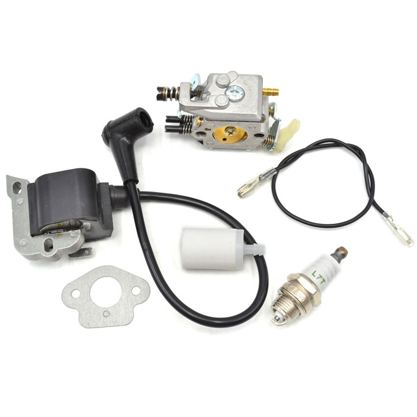 Chainsaw Carburetor Ignition Coil With Carbs Gasket Fuel Filter Spark Plug Replacement Parts For Husqvarna 50 51 5 Ignition Coil Spark Plug Electronic Products