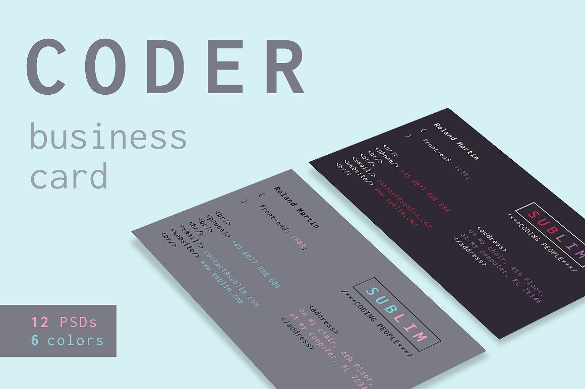 Coder Developer Business Cards