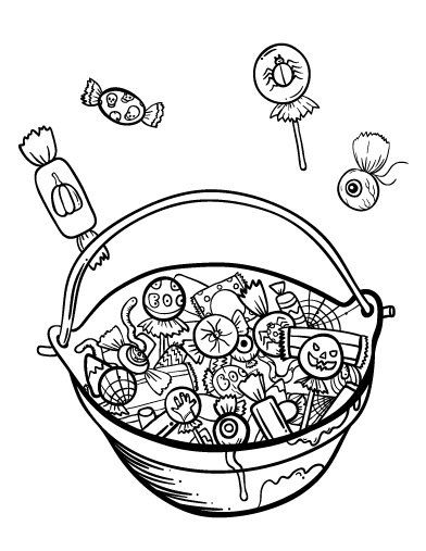 Basket Of Candy Printable Candy Coloring Pages Halloween