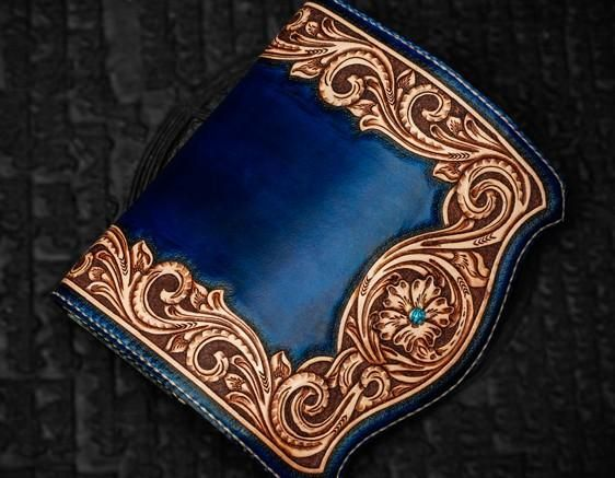 Handmade Leather Men Tooled Blue Floral Cool Leather Wallet Long Phone Clutch Wallets for Men #leatherwallets