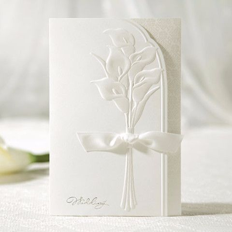 White Lily Embossed Ribbon Elegant Floral Wedding Invitations   SW 3014