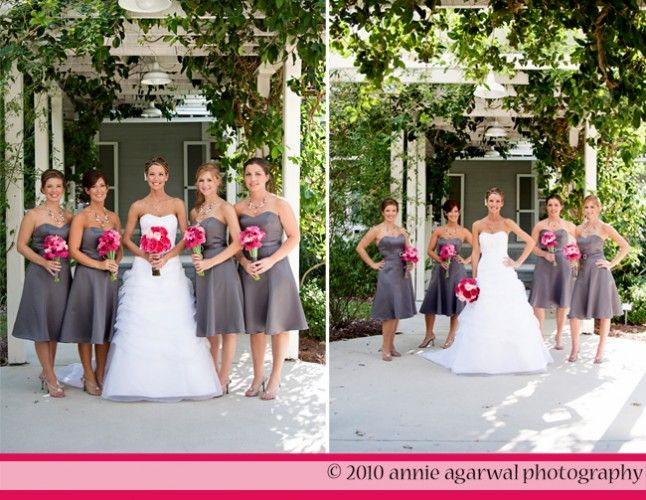 Grey bridesmaid dresses with magenta accents happily ever after gray bridesmaid dresses with pink flowers or green yellow or bnlue mightylinksfo