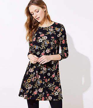 c558b5d24476 Skyla Floral V Neck Flared Sleeve Swing Dress | textiles ESA 2018 | Dresses,  Swing dress, White floral dress