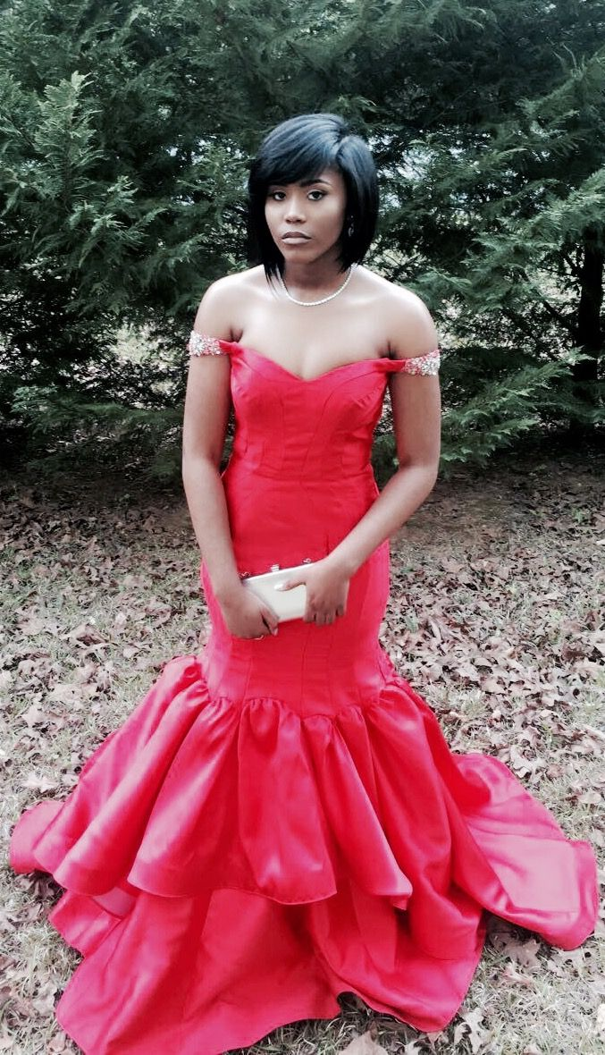 red mermaid prom dress off the shoulders long red dress