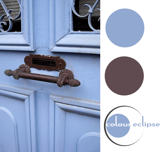 pantone serenity blue and dark bronze color palette, periwinkle