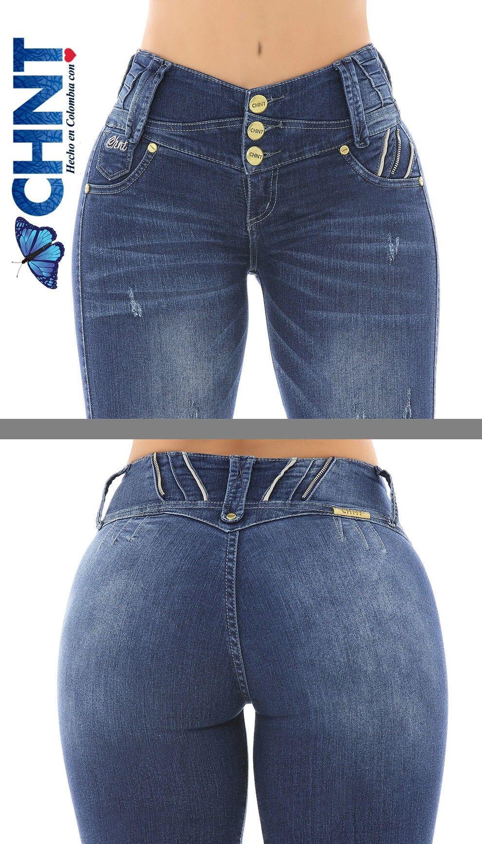 Colombian Fajas Jeans Blue Push Up Butt Lift w Belt Levanta Cola Skinny Molding