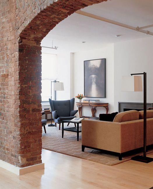 Brick Wall! Deborah Berke & Partners.  Another one of my favorite things -- brick. It just gives a room character.