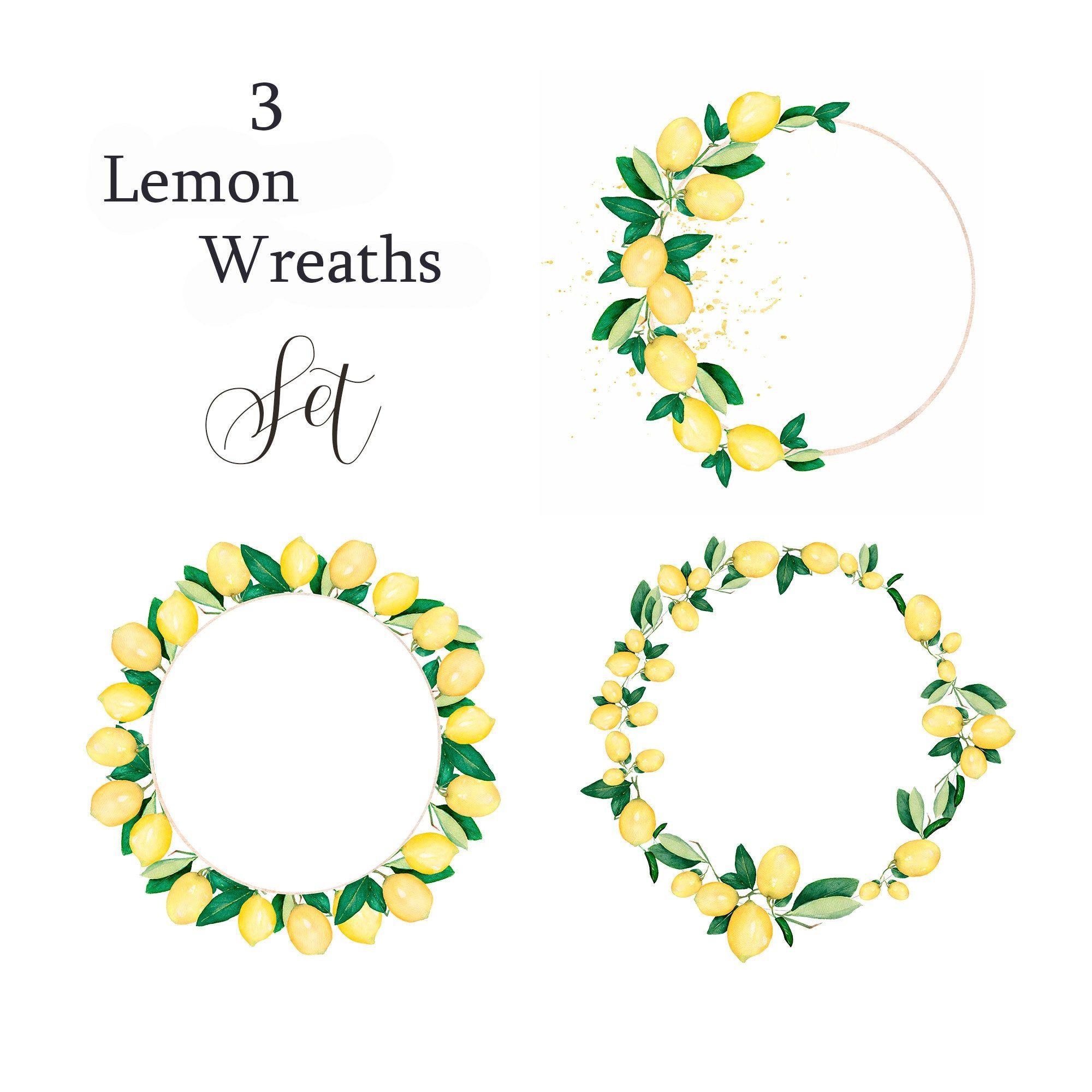 Watercolor Lemon citrus fruit Wreath, Wedding Frame