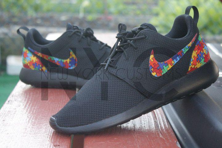 Etsy Autism Awareness Nike Roshe Run Triple Black Custom Toddlers Pre School  Grade School Youth 20fcf406491b