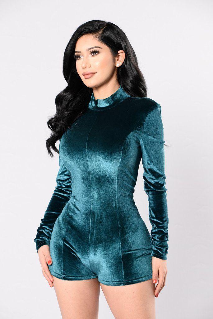 30add40413e Available in Black and Burgundy - Velvet - Romper - Long Sleeve - 95%