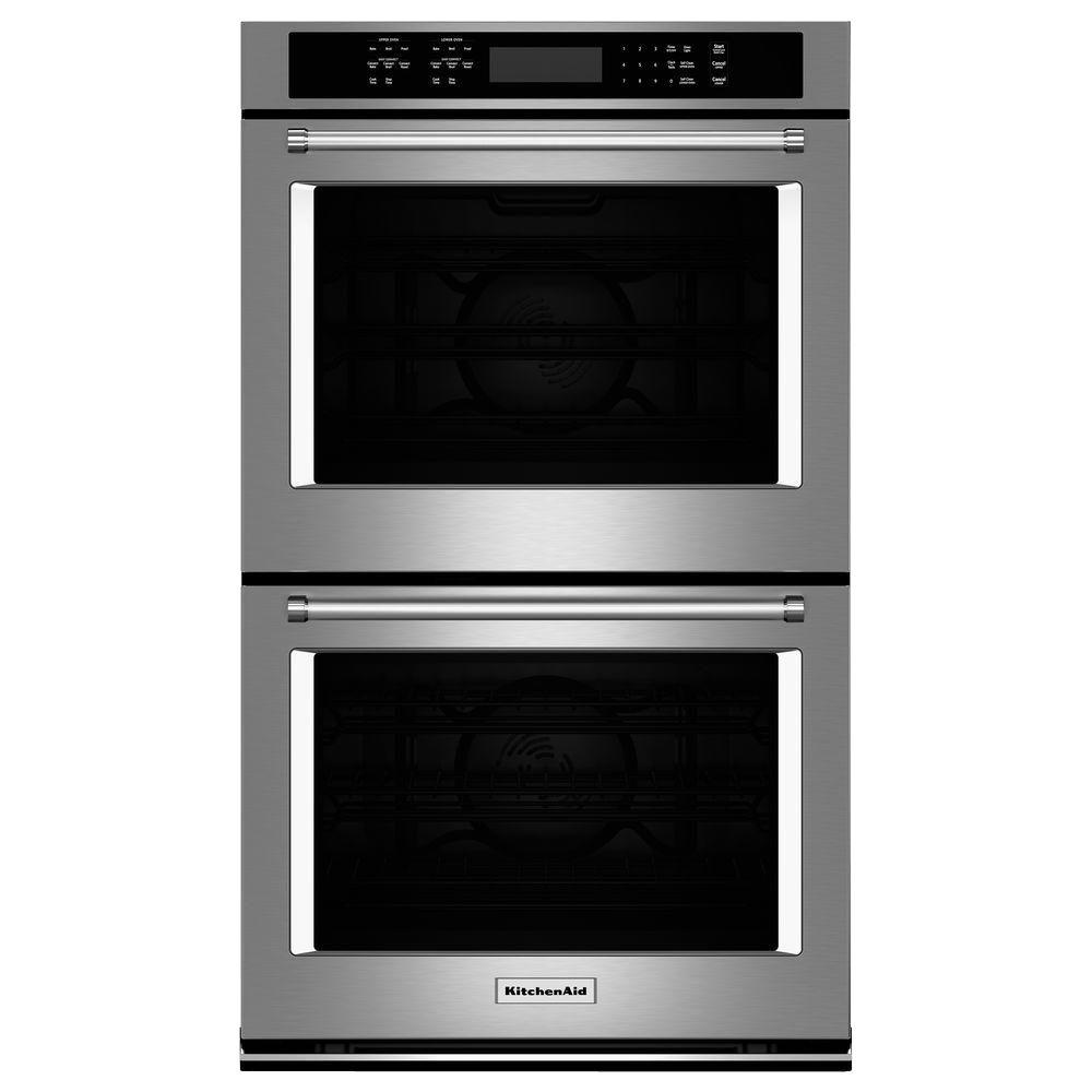 Kitchenaid 30 In Double Electric Wall Oven Self Cleaning With Convection In Stainless Steel Kode500ess The Home Depot Electric Wall Oven Stainless Steel Oven Double Electric Wall Oven