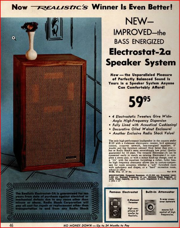 1969. Realistic Electrostatic Speakers