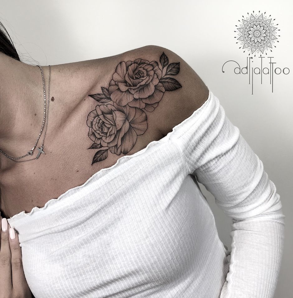 Exquisite Ornamental Tattoos by Adrianna Sak | Shoulder tattoos for women, Rose tattoos for women, Rose tattoos