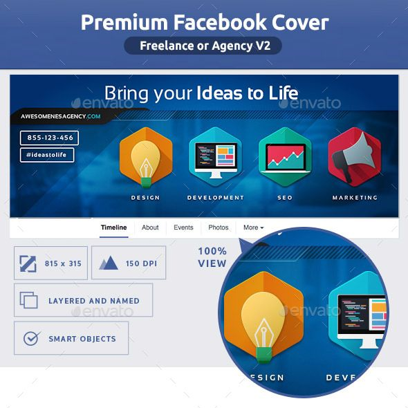 Freelance or Agency FB Cover V2 | Facebook cover template, Template ...