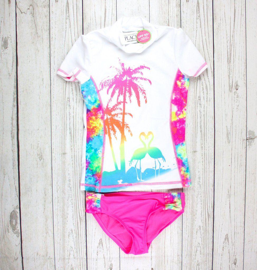2 piece swimsuit, Children's Place swimwear, Children's Place rashguard, rashguard for girls