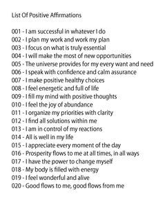 List Of Quotes List Of Positive Affirmations  Denice's Inspirations & Daily Notes