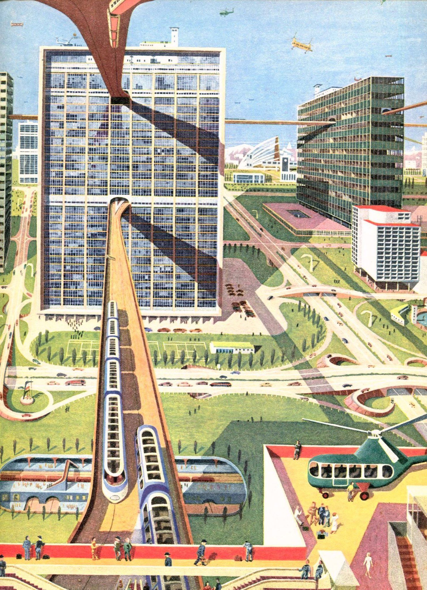 a city of the future that is quiet clean and easy to get about in the wonderful world by james fisher illustrations by kempster and evans 1954 futuristic city retro pinterest