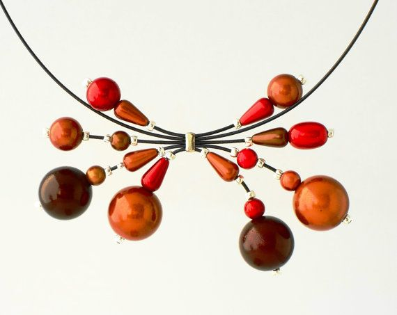 Autumn colours miracle beads on coated memory wire by Makeutock, $20.00