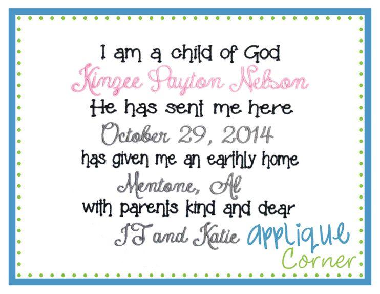 I am a child of God Applique Design embroidery