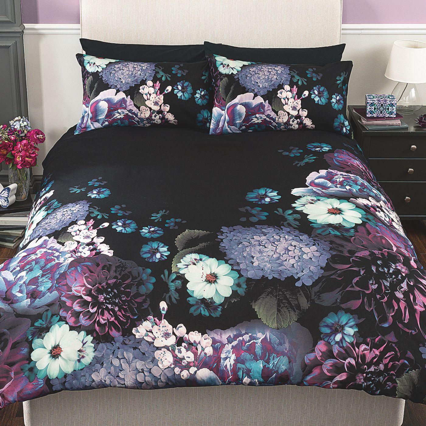 George Home Moody Bloom Dark Floral Duvet Set
