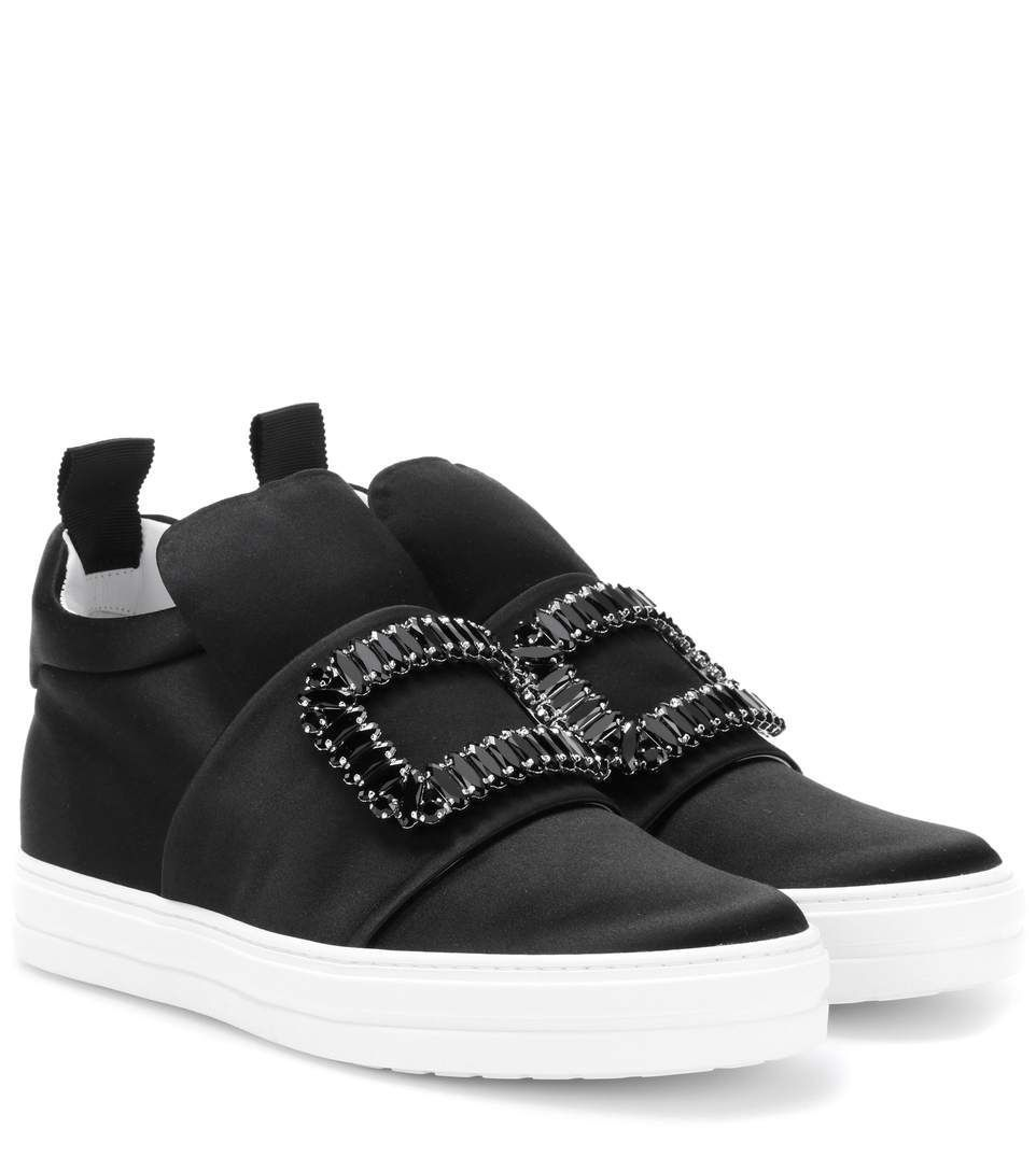 ROGER VIVIER Sneaky Viv' High-Top Satin Sneakers. #rogervivier #shoes #