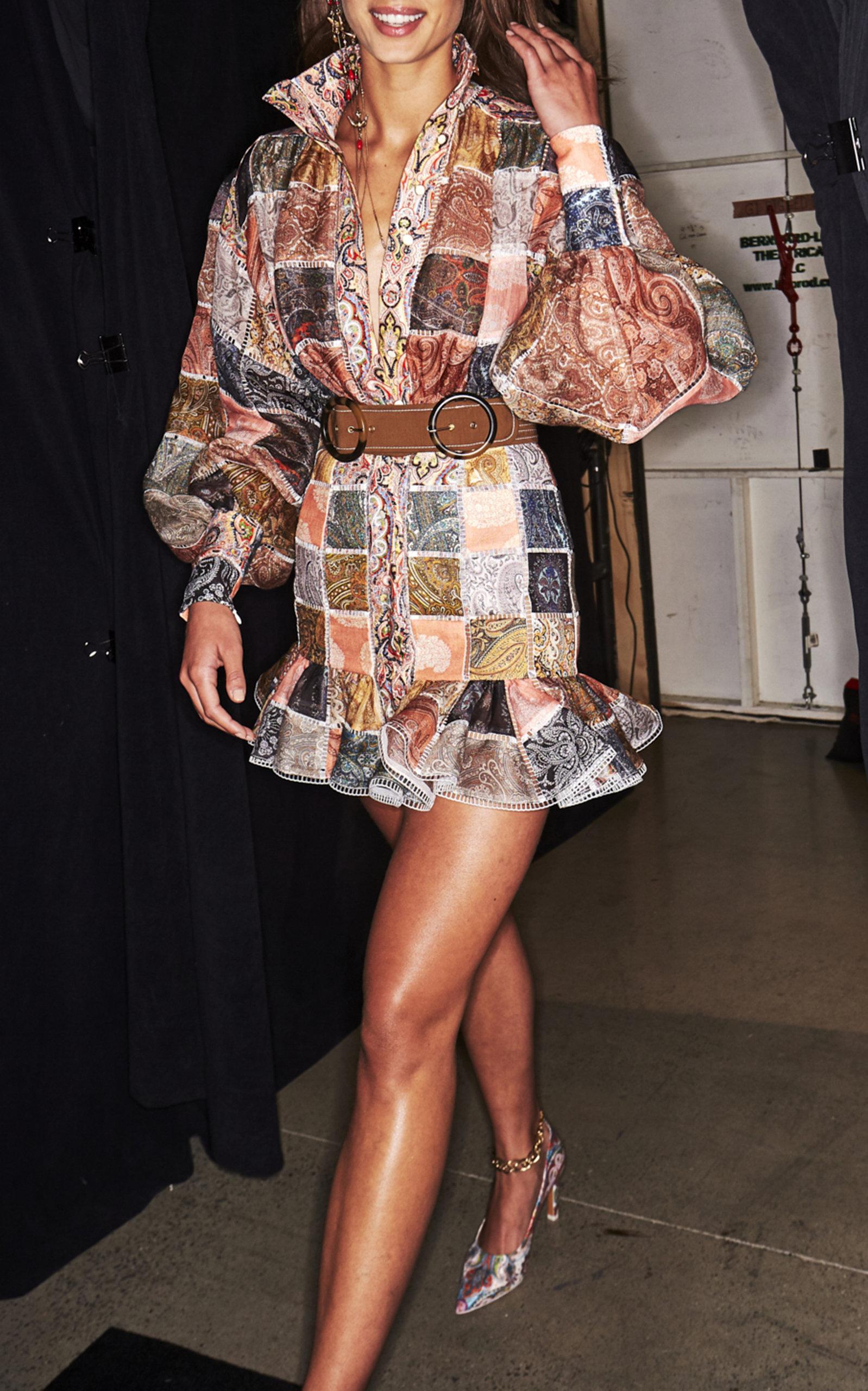 54eaaf1f26a2 Zimmermann Ninety-Six Patchwork Silk Mini Dress Silk Mini Dress, Patchwork  Designs, Knee