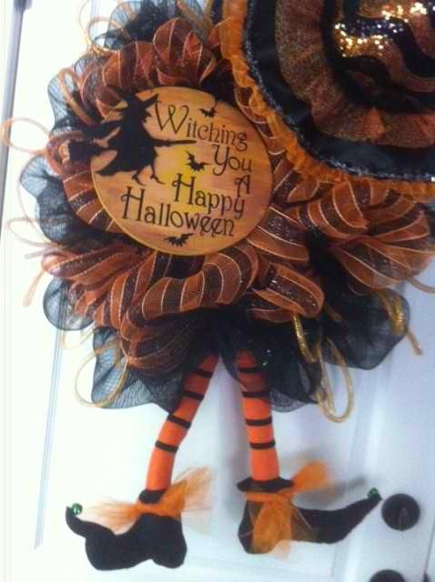 Halloween Deco Mesh wreath. Get your Witchy on!
