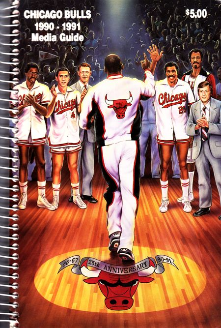 Bulls 90-91 Media Guide Cover - Jordan is wearing the 3 s  b0f837a9459f