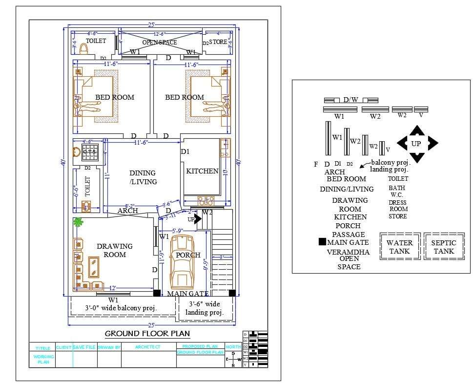 25 X 40 Feet Plot Size For North Facing House Ground Floor Plan Design Includes The Furniture Layout Contai North Facing House House Plans Building Plans House