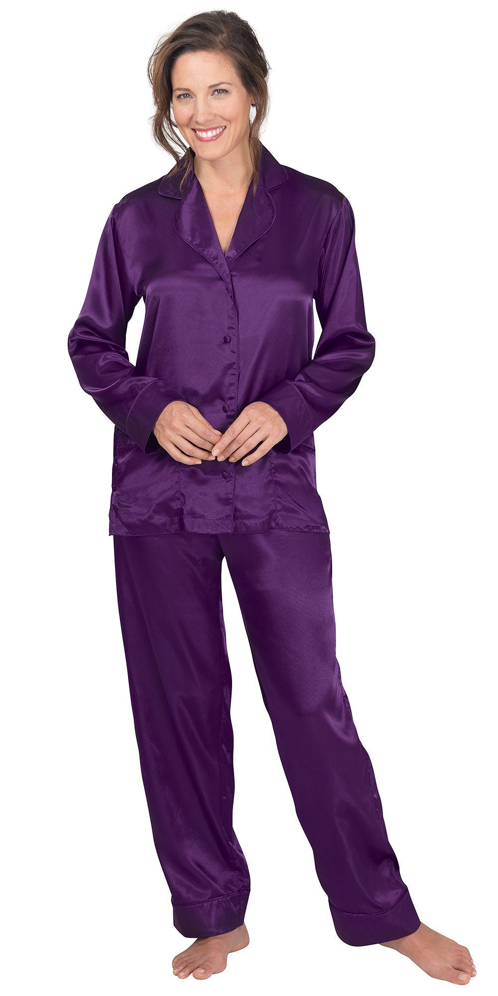 7361b53050 Plum Satin Pajamas