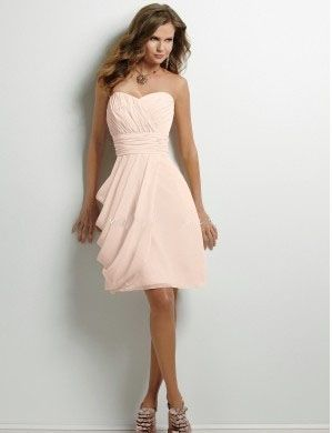 Fancy light pink chiffon sweetheart strapless sleeveless pleated ...