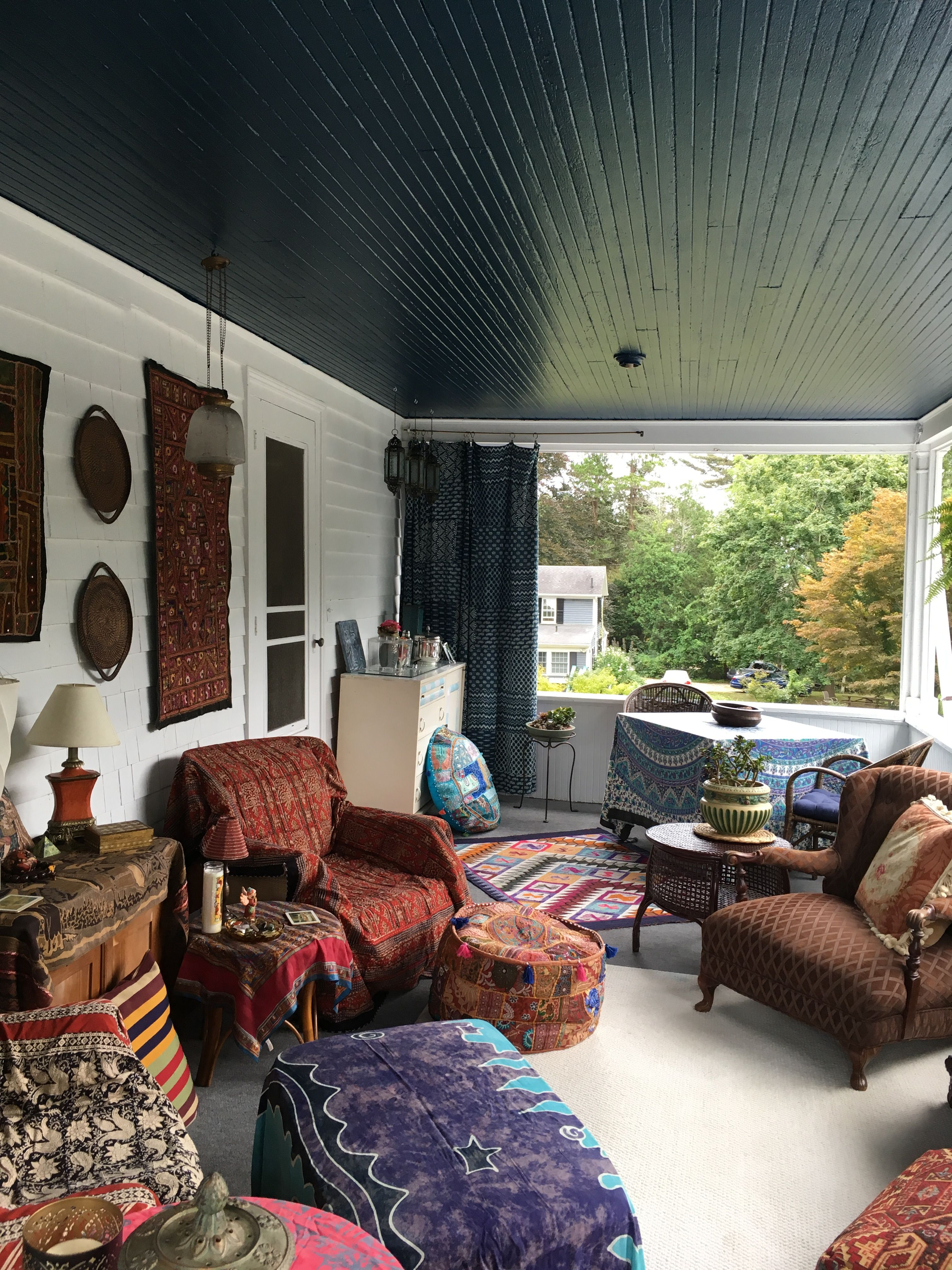 My hippie Boho porch with indigo ceiling. Turn your dead ...