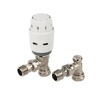 Danfoss Ras C White Chrome Angled Trv Lockshield 15mm X Chrome Radiator Valves Angles