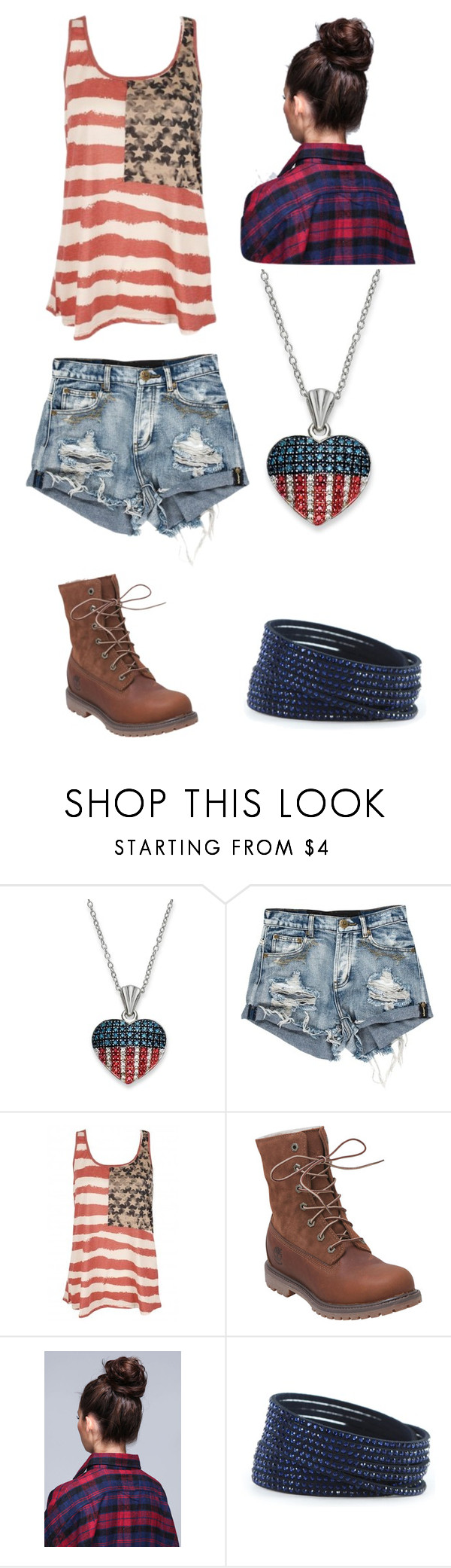 """""""Captain america inspired outfit"""" by carolyn-1999 ❤ liked on Polyvore featuring Timberland, Swarovski, tanktop, Avengers, CaptainAmerica and flag"""