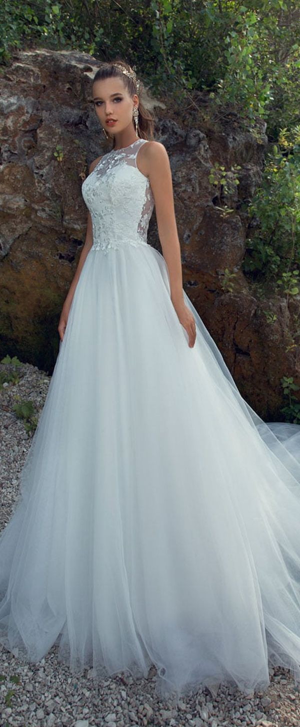 Alluring Tulle Jewel Neckline A-line Wedding Dress With Lace ...