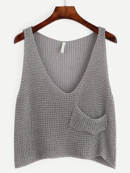 Grey Knit Crop Tank Top With Front Pocket Mobile Site | Tops ...