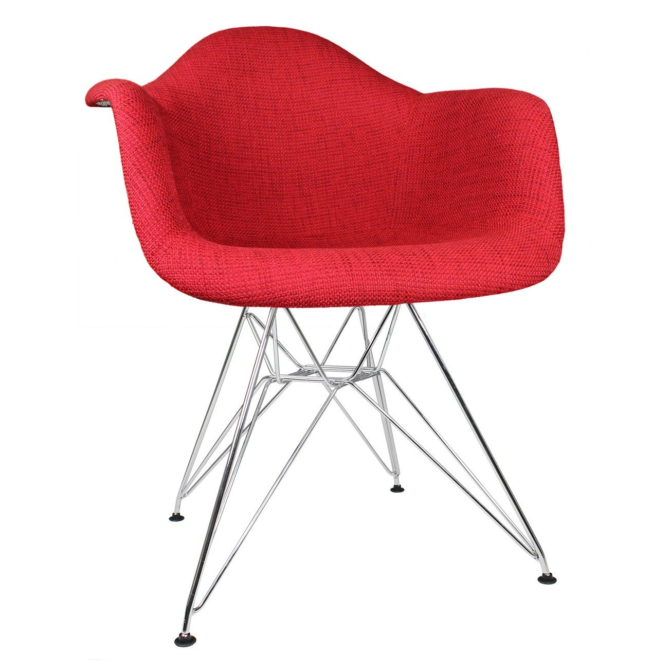 Excellent Red Woven Fabric Upholstered Accent Arm Chair River Front Cjindustries Chair Design For Home Cjindustriesco