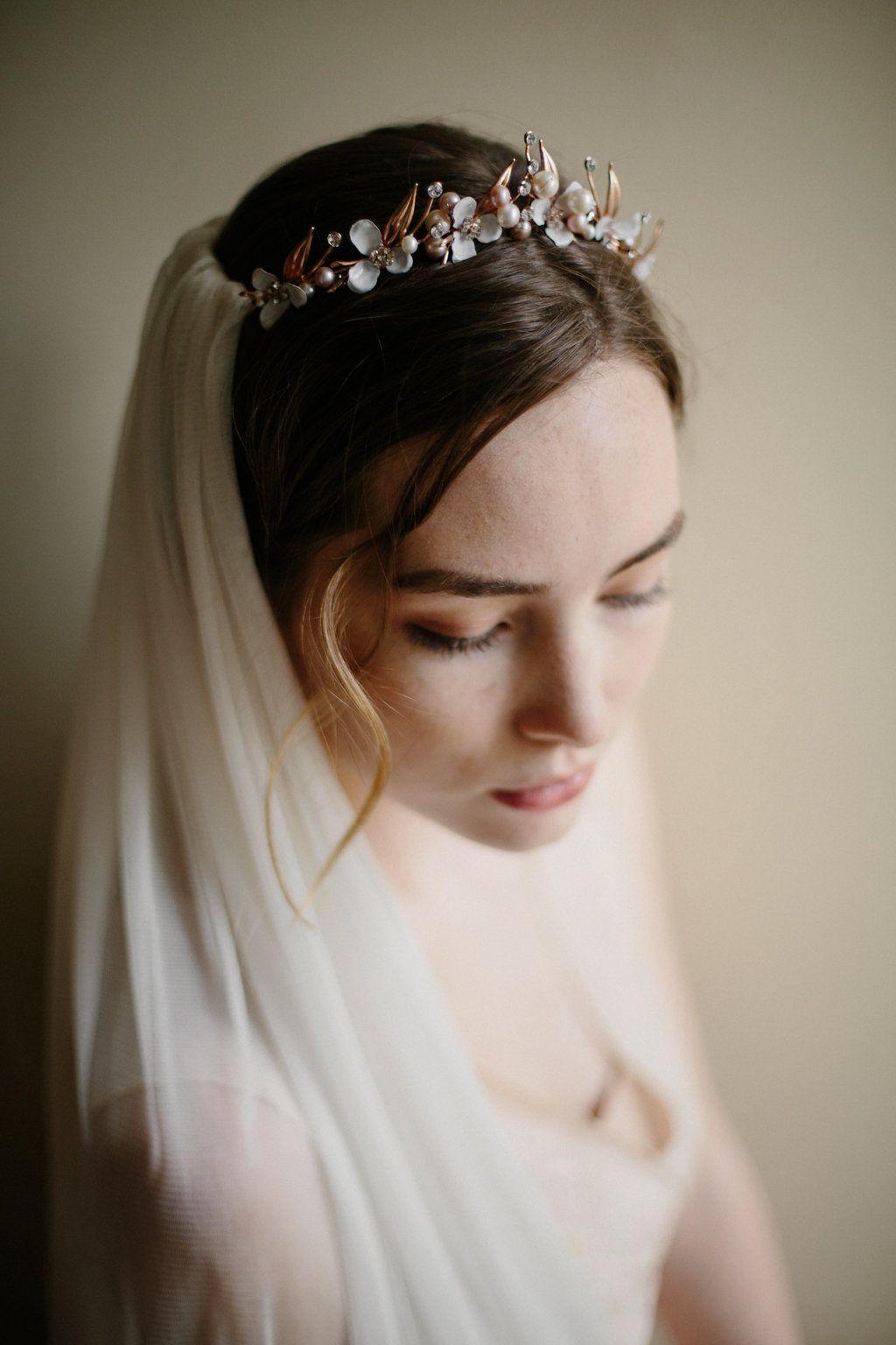 Garden gate wedding crown with silk veil Headpiece