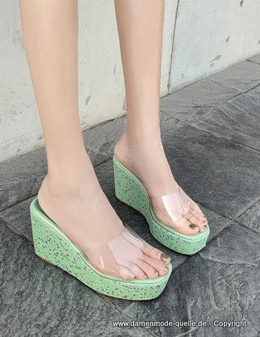 neuheiten  transparente wedges sommerschuhe 2020 in hellgrün mit pailletten  damenmode