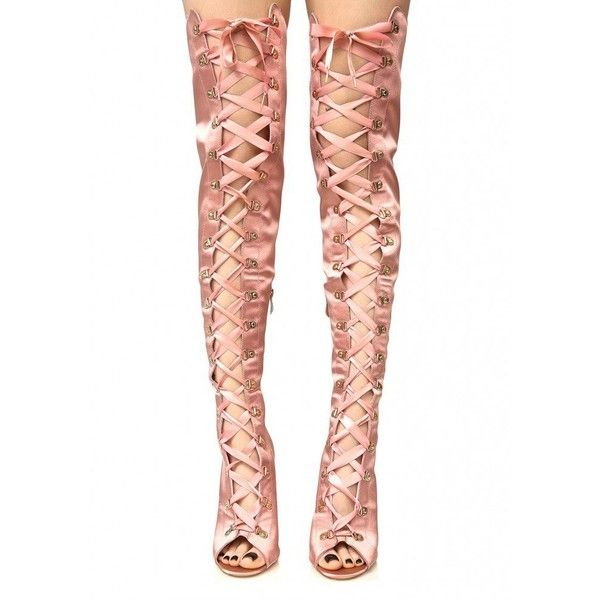 Pink Corset Thigh High Boots ($75) ❤ liked on Polyvore featuring shoes, boots, over-the-knee lace-up boots, over the knee lace up boots, zipper boots, over the knee boots and over the knee peep toe boots
