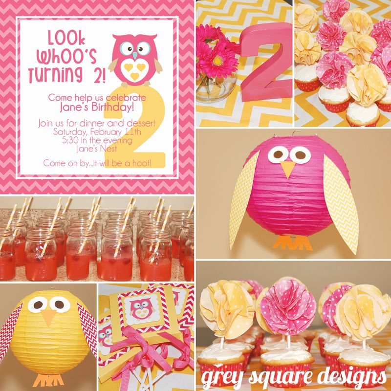 Grey Square Designs: Pink and Yellow Chevron Owl Birthday Party