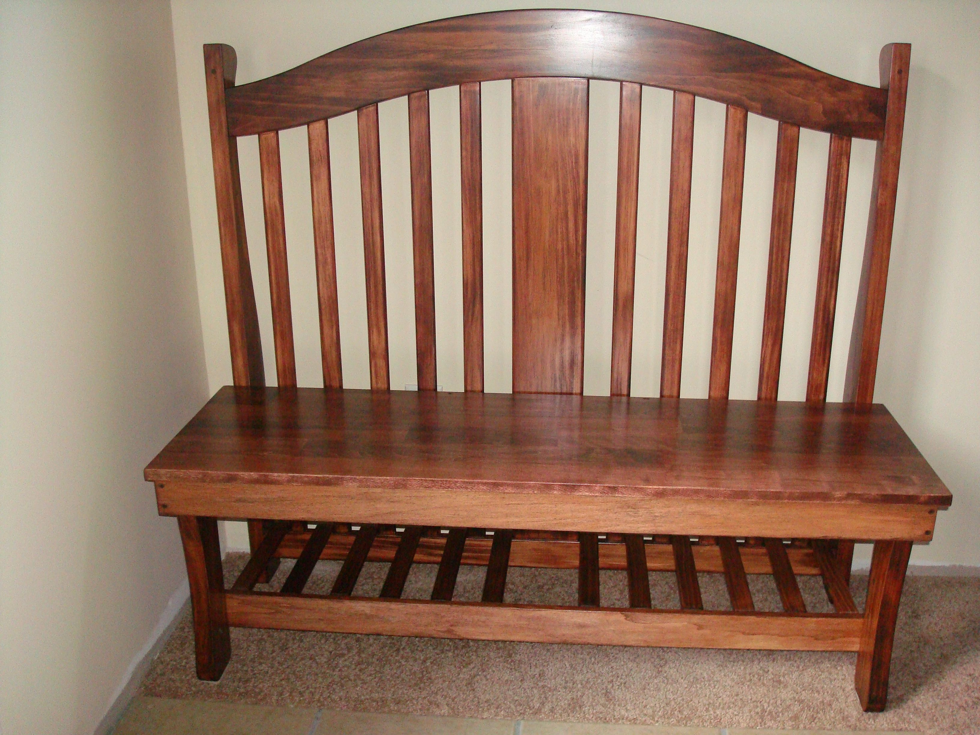 Repurposed crib into bench...my dad made this out of our old crib ...